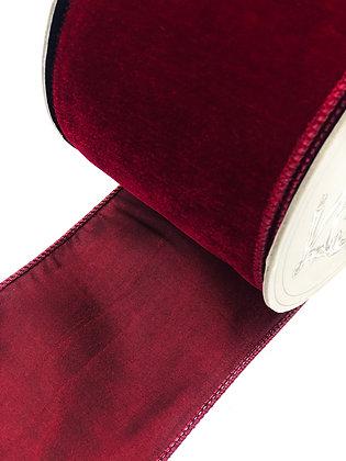Burgundy Velvet/Taffeta Ribbon Roll