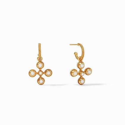 Somerset Hoop & Charm Earrings- Pearl