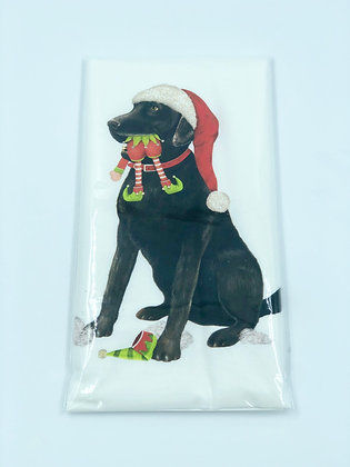 Black Lab with Elf Single Flour Sack Towel