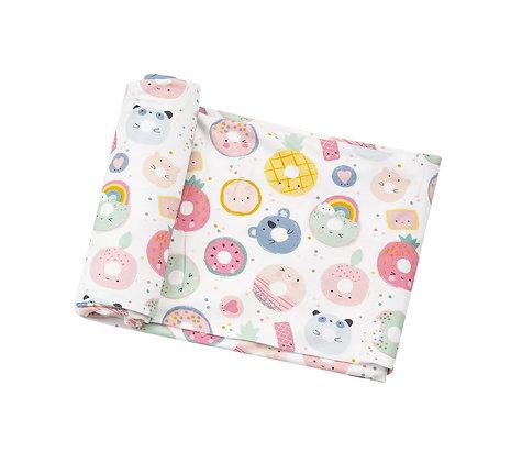 Bamboo Swaddle Blanket in Donut Smiles