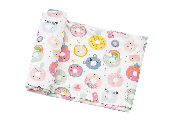 Bamboo Swaddle Blanket in Donut Smiles