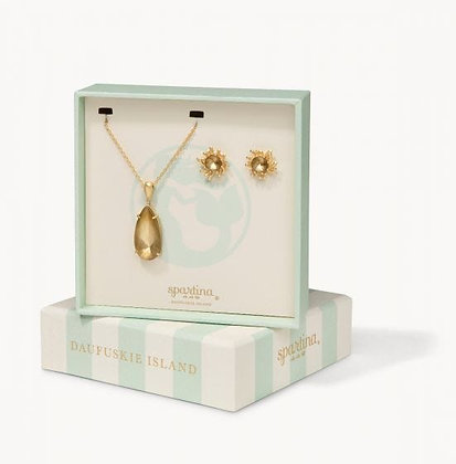 Boxed Earring and Necklace Set- Gold Mermaid Glass