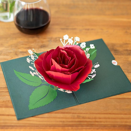 Red Rose Bloom 3D Card
