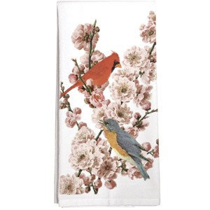 Pink Blossoms & Birds Single Flour Sack Towel
