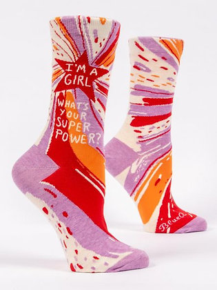 I'm A Girl, What's Your Superpower Women's Crew Socks