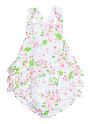 Ruffle Back Sunsuit in Cherry Blossoms