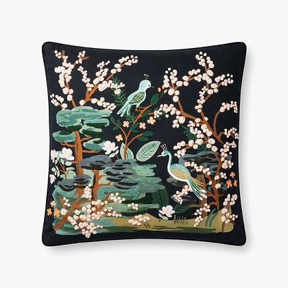Black Multi Birds Pillow