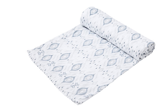 Grey Ikat Swaddle Blanket