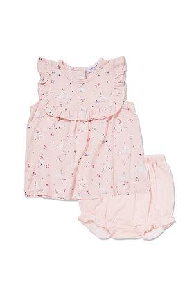 Pink Baby Bunnies Ruffle Top & Bloomer