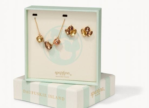 Boxed Earring and Necklace Set- Rose Gold Mermaid Glass