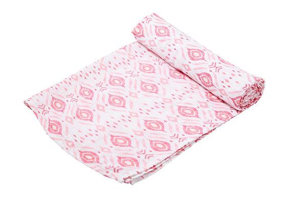 Pink Ikat Swaddle Blanket