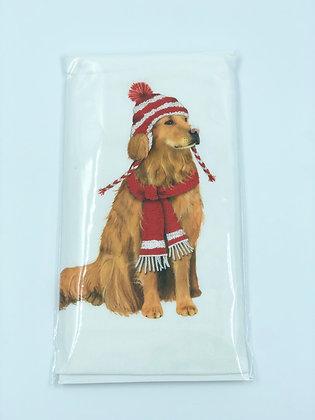 Golden in Hat & Scarf Single Flour Sack Towel