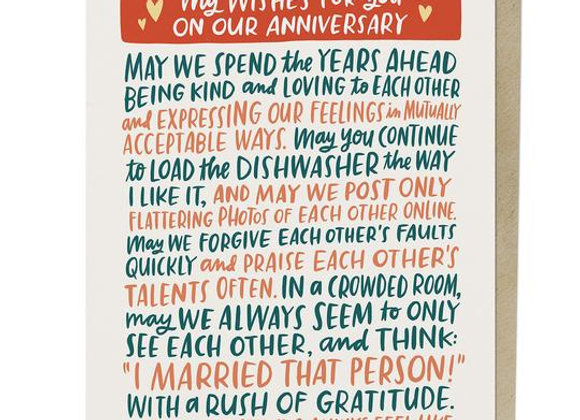 Wishes for You Anniversary Card