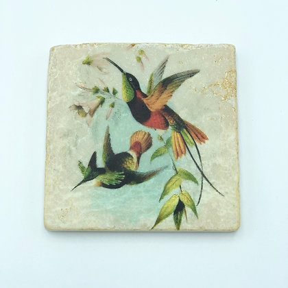 Single Marble Coaster- Hummingbird Pair