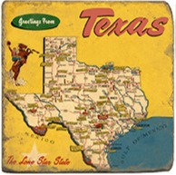 Single Marble Coaster- Greetings From Texas Map