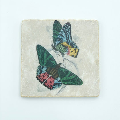 Single Marble Coaster- Pink & Blue Butterfly Pair