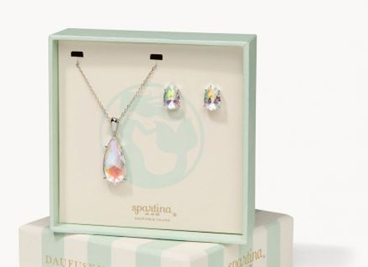 Boxed Earring and Necklace Set- Mermaid Glass