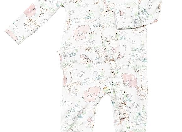 Pink Elephant Family Ruffle Front Zipper Footie