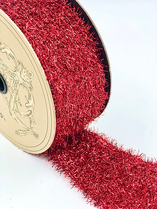 Metallic Red Tinsel Ribbon Roll