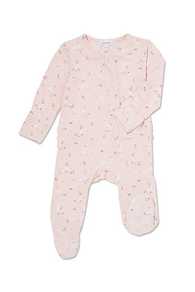 Pink Baby Bunnies Zipper Footie