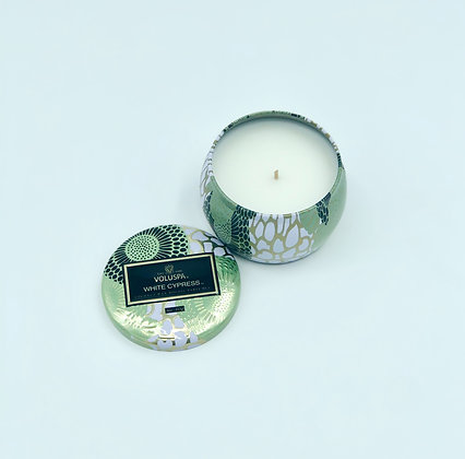 White Cypress Petite Tin Candle