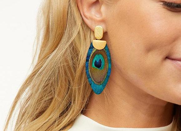 Nikko Blue Feather Drop Earrings