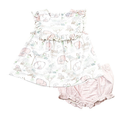 Pink Elephant Family Ruffle Top & Bloomer
