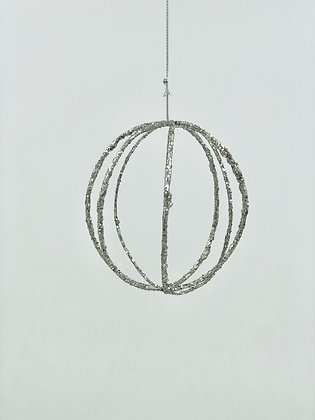 10cm Silver Wire Ball Ornament