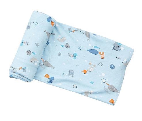Happy Ocean Bamboo Swaddle Blanket