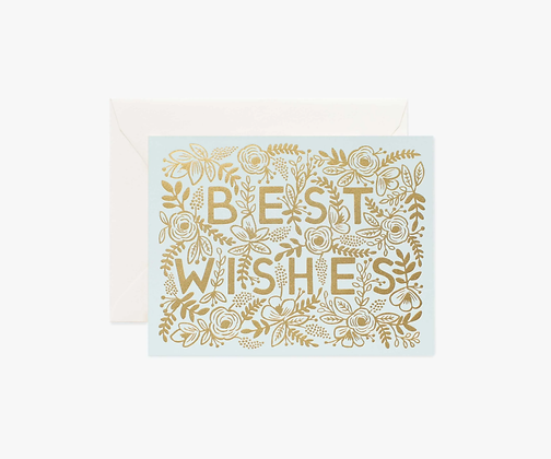 Blue Best Wishes Card