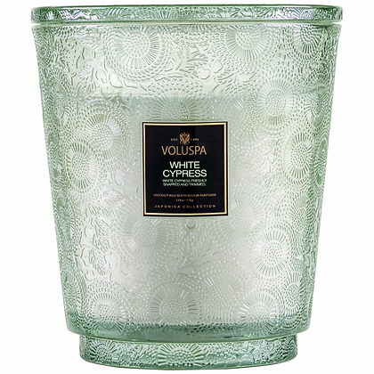 White Cypress 5 Wick Hearth Candle