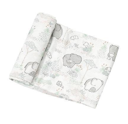 Grey Elephant Family Bamboo Swaddle Blanket