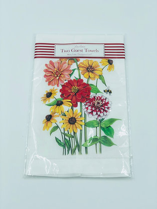 Zinnias Guest Towels Set of Two