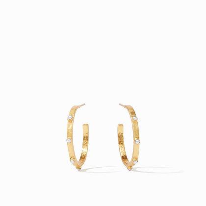 Crescent Stone Hoop- Pearl