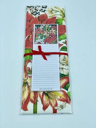 Winter Flowers Towel and Notepad Set