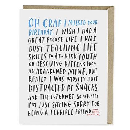Awkward Belated Birthday Card