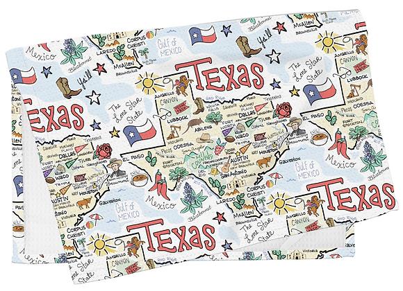 Texas Map Tea Towel