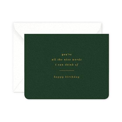 Nice Words Birthday Card