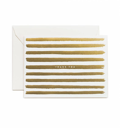 Gold Stripe Thank You Card