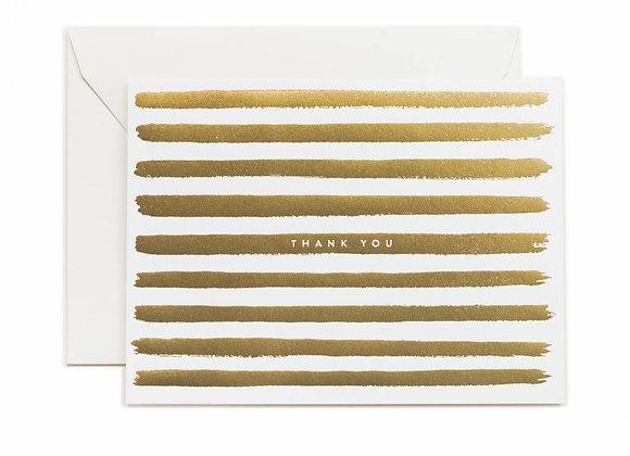 Gold Stripe Thank You Card