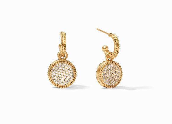 Fleur-de-Lis Hoop & Charm Earring- Pavé Cubic Zirconia