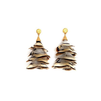Sandy Feather Statement Earrings