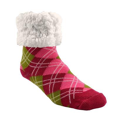 Argyle Raspberry- Adult Slipper Socks