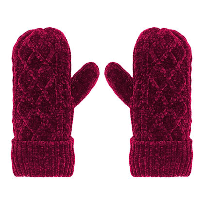 Raspberry- Chenille Cable Knit Mittens