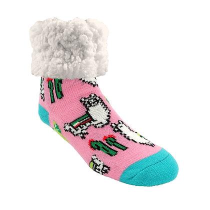 Llama Pink- Adult Slipper Socks