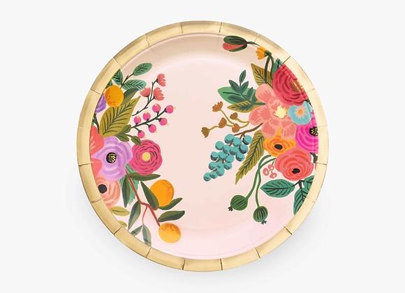10 Large Garden Party Paper Plates