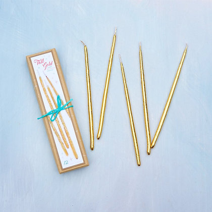 Tall Golden Party Candles