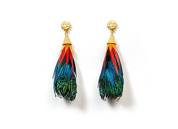Leigh Feather Statement Earrings