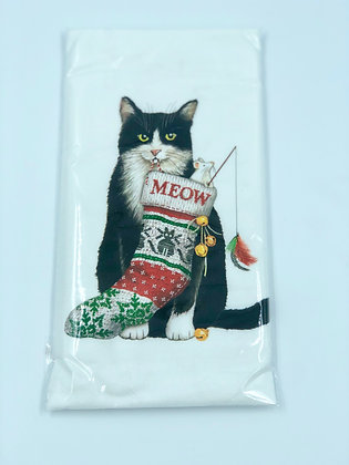 Black and White Cat with Stocking  Single Flour Sack Towel