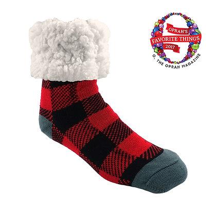 Red Lumberjack- Adult Large Slipper Socks